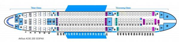 ジェットスターのA330-200の座席表